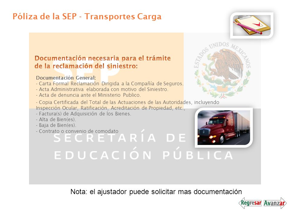 Póliza de la SEP - Transportes Carga