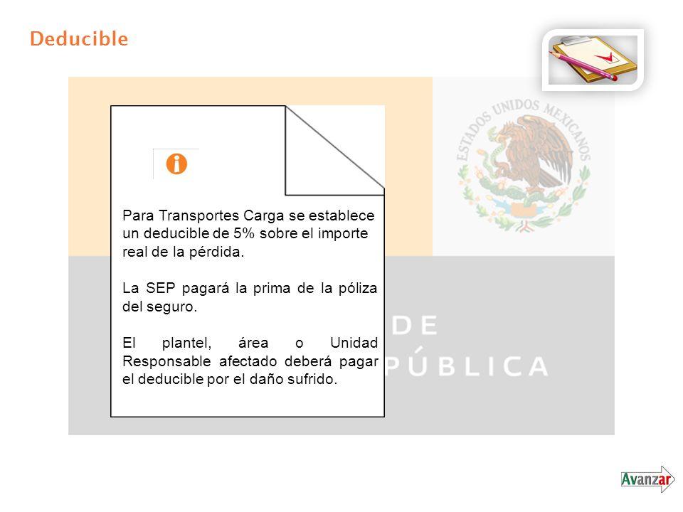 Deducible Para Transportes Carga se establece un deducible de 5% sobre el importe real de la pérdida.