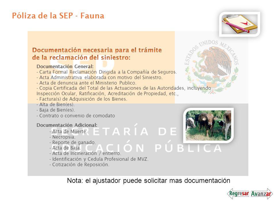 Póliza de la SEP - Fauna Documentación necesaria para el trámite de la reclamación del siniestro: Documentación General: