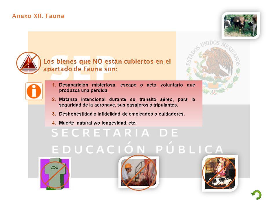 Los bienes que NO están cubiertos en el apartado de Fauna son: