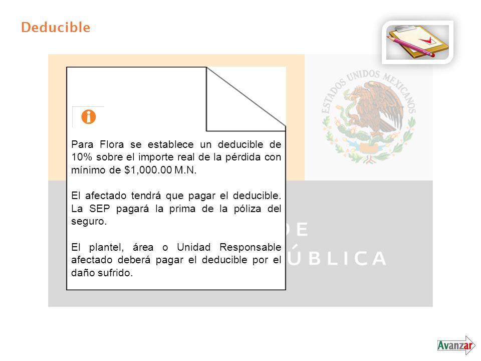 Deducible Para Flora se establece un deducible de 10% sobre el importe real de la pérdida con mínimo de $1,000.00 M.N.