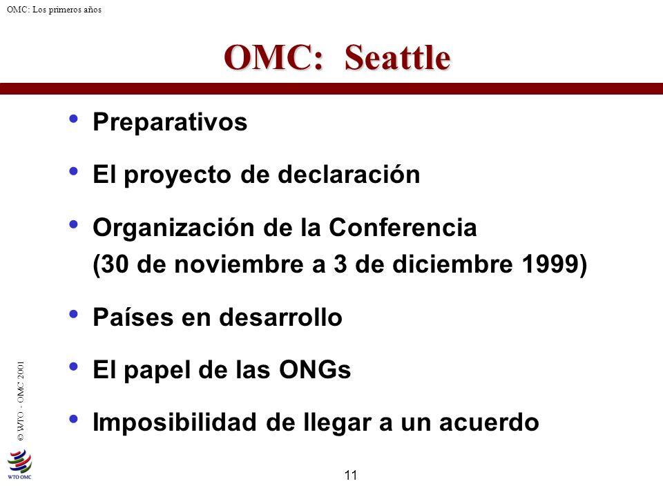 OMC: Seattle Preparativos El proyecto de declaración