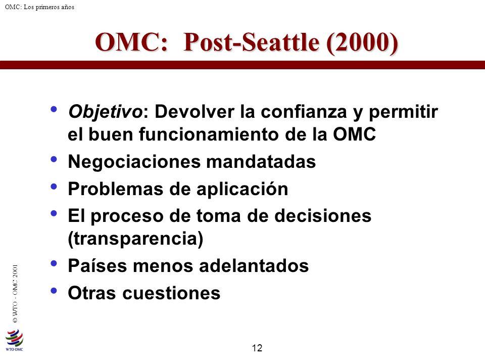 OMC: Post-Seattle (2000) Objetivo: Devolver la confianza y permitir el buen funcionamiento de la OMC.
