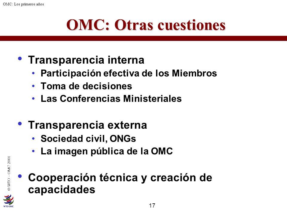 OMC: Otras cuestiones Transparencia interna Transparencia externa