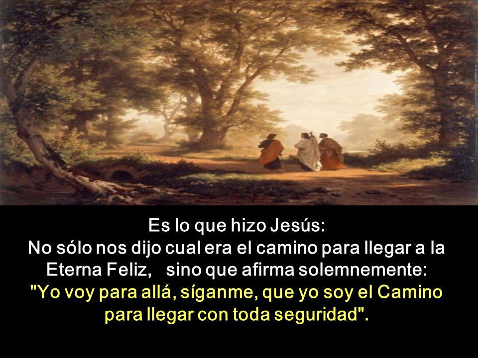 Es lo que hizo Jesús: No sólo nos dijo cual era el camino para llegar a la Eterna Feliz, sino que afirma solemnemente: Yo voy para allá, síganme, que yo soy el Camino para llegar con toda seguridad .