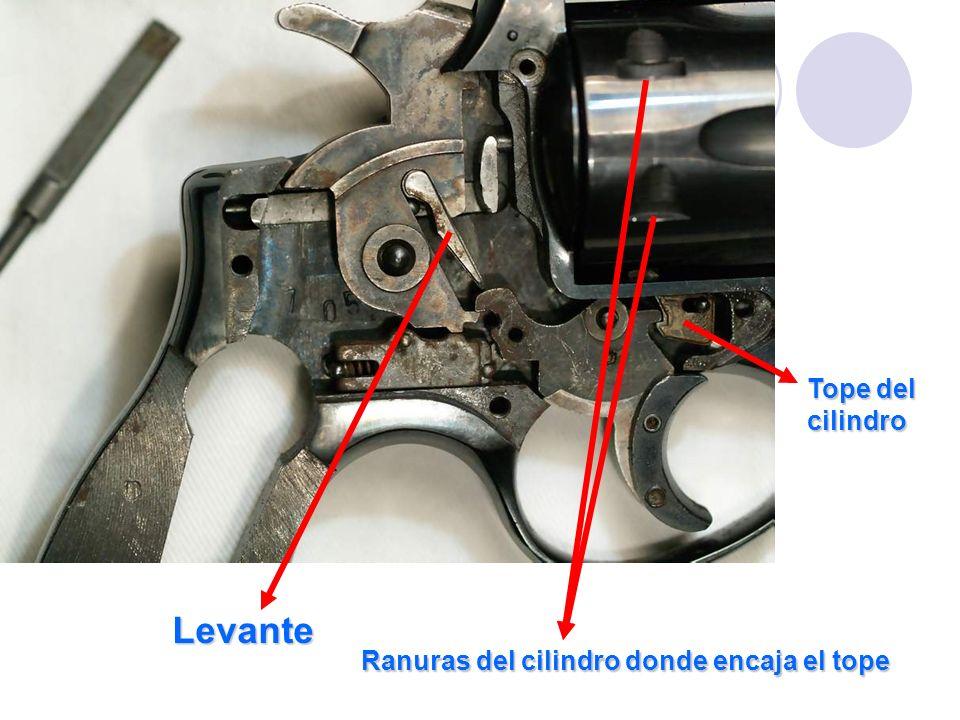 Levante Tope del cilindro Ranuras del cilindro donde encaja el tope