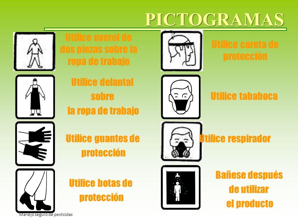 PICTOGRAMAS Utilice overol de dos piezas sobre la ropa de trabajo