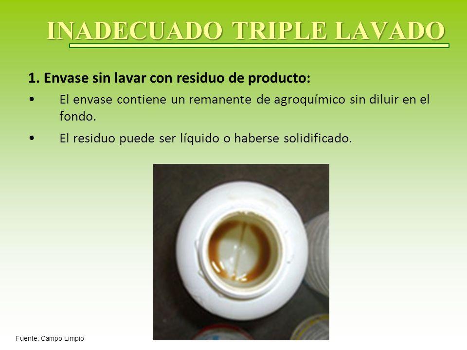 INADECUADO TRIPLE LAVADO