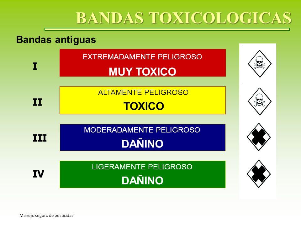 BANDAS TOXICOLOGICAS MUY TOXICO TOXICO DAÑINO DAÑINO Bandas antiguas I