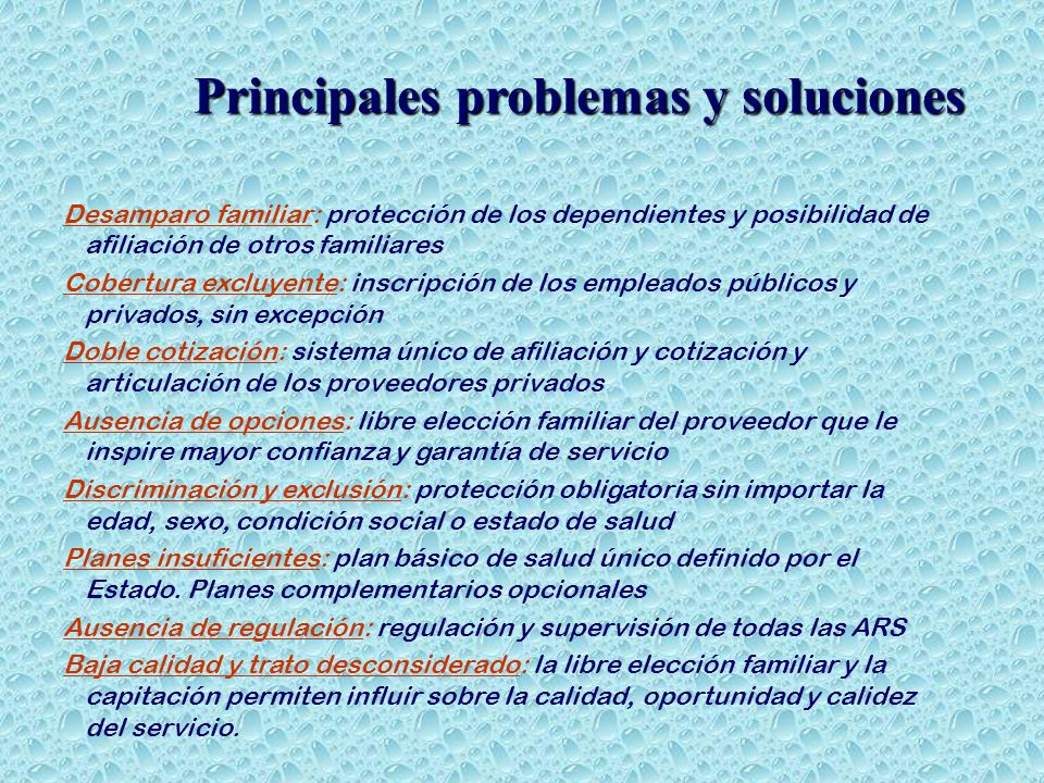 Principales problemas y soluciones