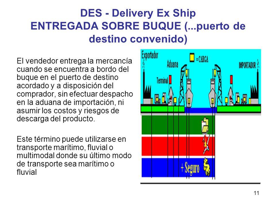 DES - Delivery Ex Ship ENTREGADA SOBRE BUQUE (