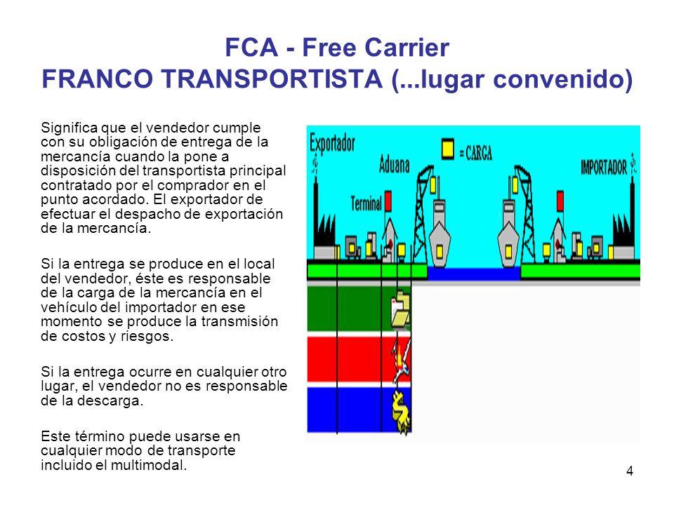 FCA - Free Carrier FRANCO TRANSPORTISTA (...lugar convenido)