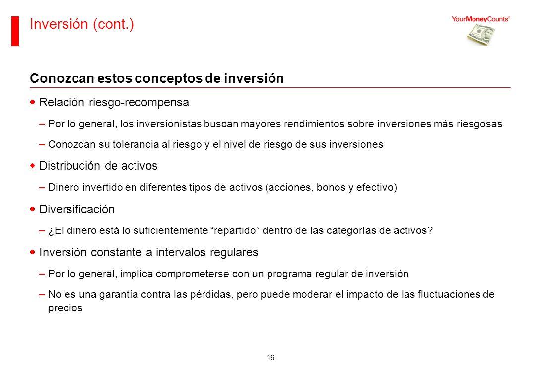 Inversión (cont.) Conozcan estos conceptos de inversión