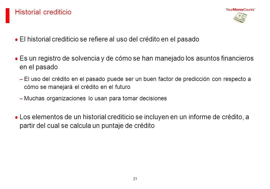 Sus bases financieras Junio de 2013. Historial crediticio. El historial crediticio se refiere al uso del crédito en el pasado.