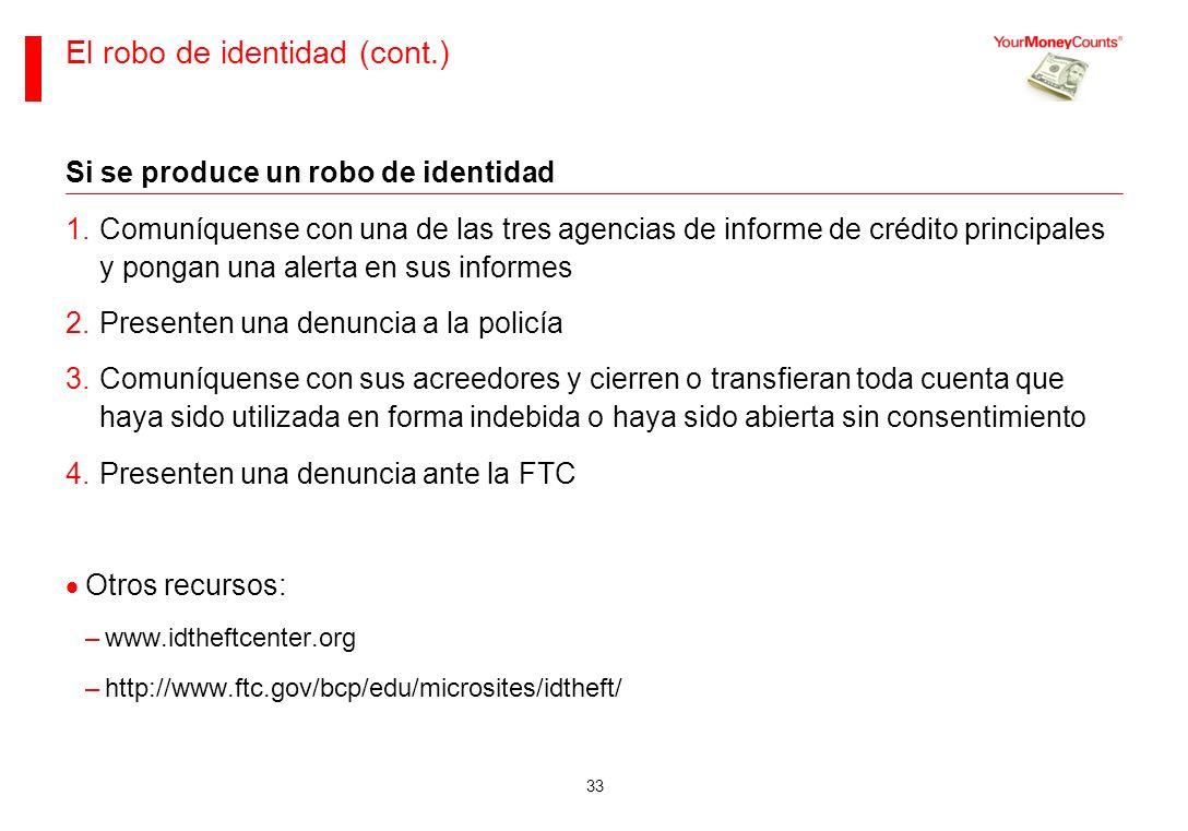 El robo de identidad (cont.)