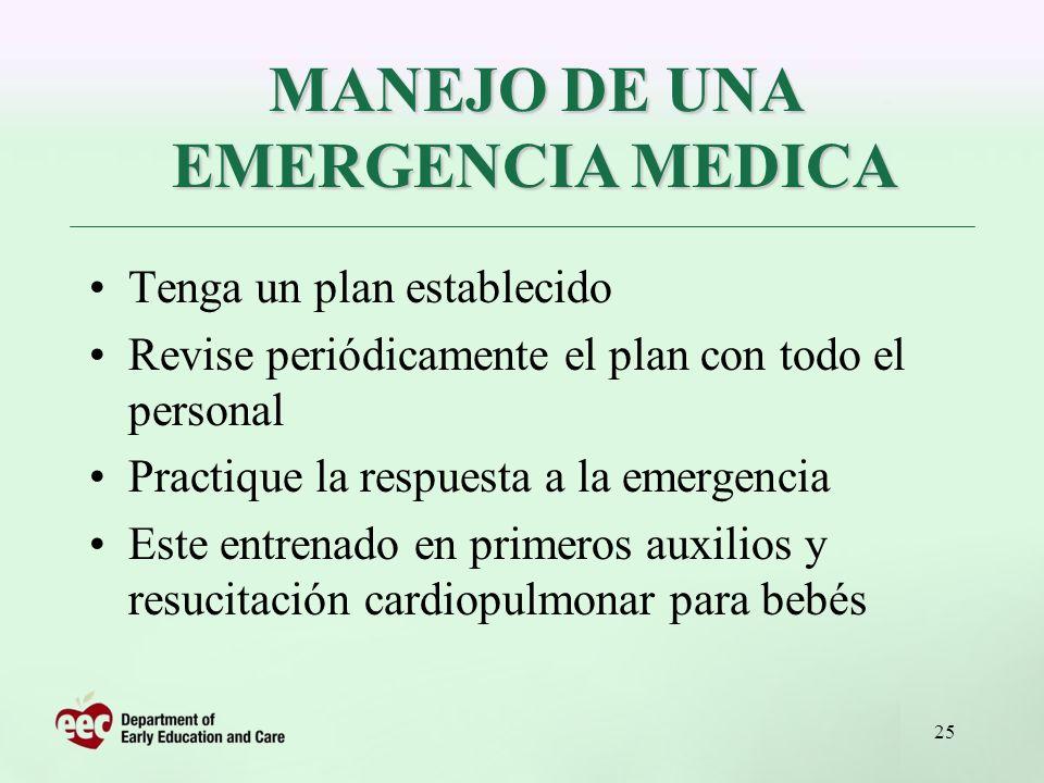 MANEJO DE UNA EMERGENCIA MEDICA