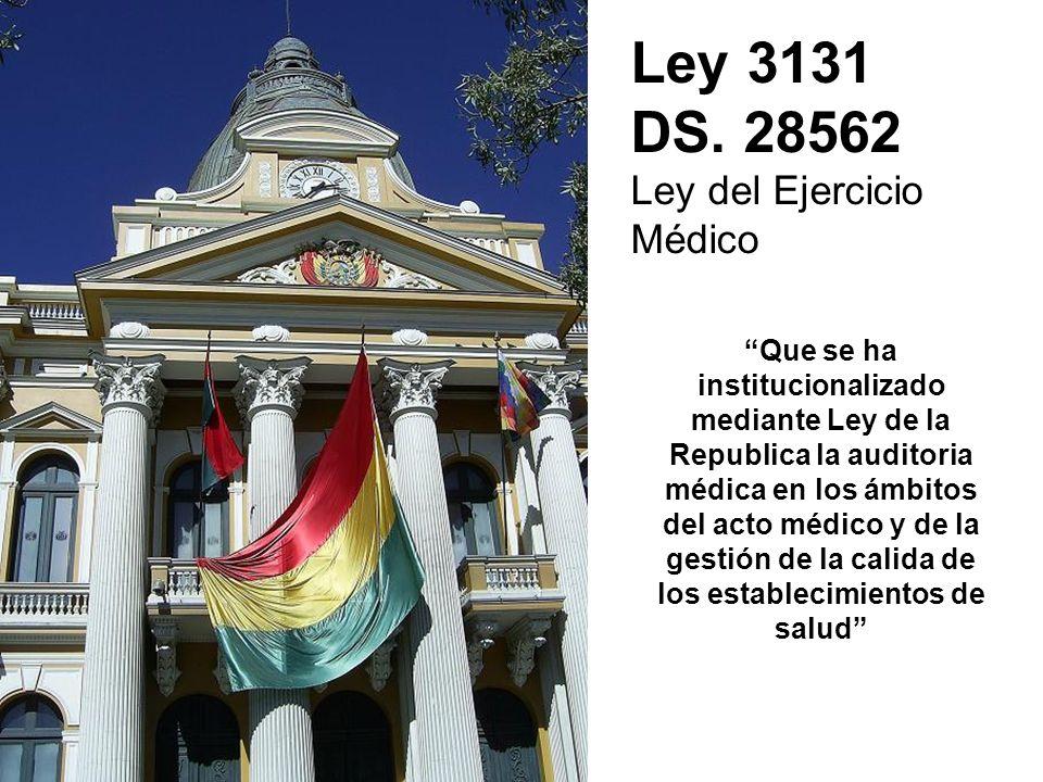Ley 3131 DS. 28562 Ley del Ejercicio Médico