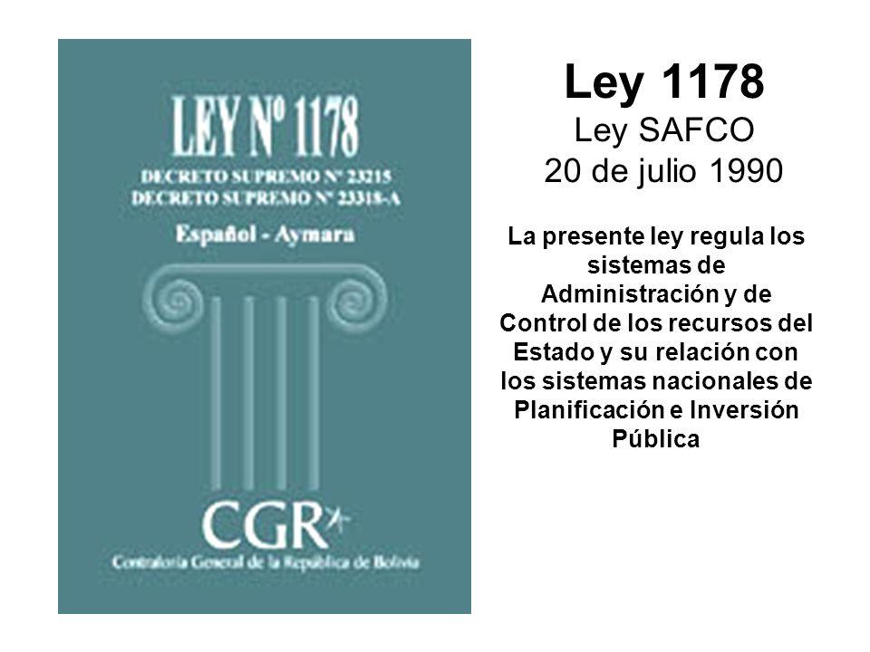 Ley 1178 Ley SAFCO 20 de julio 1990
