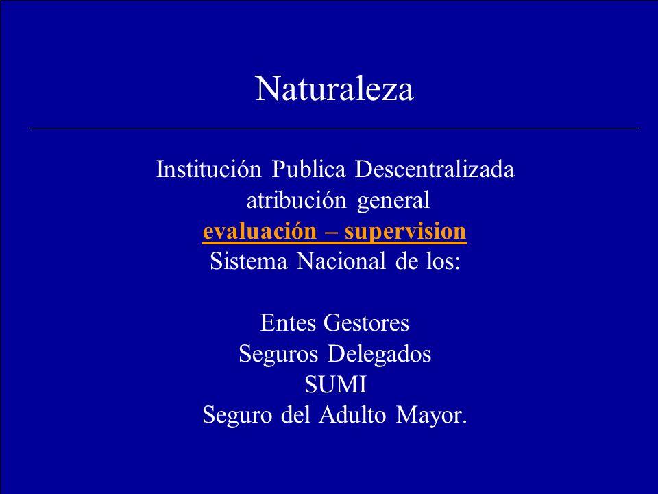 Naturaleza Institución Publica Descentralizada atribución general evaluación – supervision Sistema Nacional de los: Entes Gestores Seguros Delegados SUMI Seguro del Adulto Mayor.
