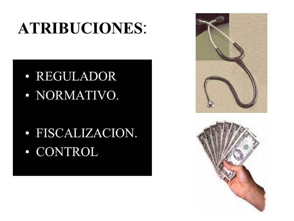 ATRIBUCIONES: REGULADOR NORMATIVO. FISCALIZACION. CONTROL