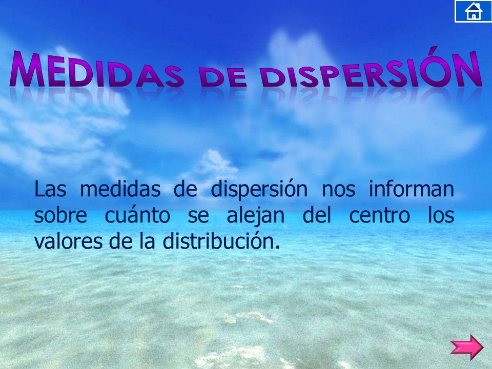 MEDIDAS DE DISPERSIÓN Las medidas de dispersión nos informan sobre cuánto se alejan del centro los valores de la distribución.