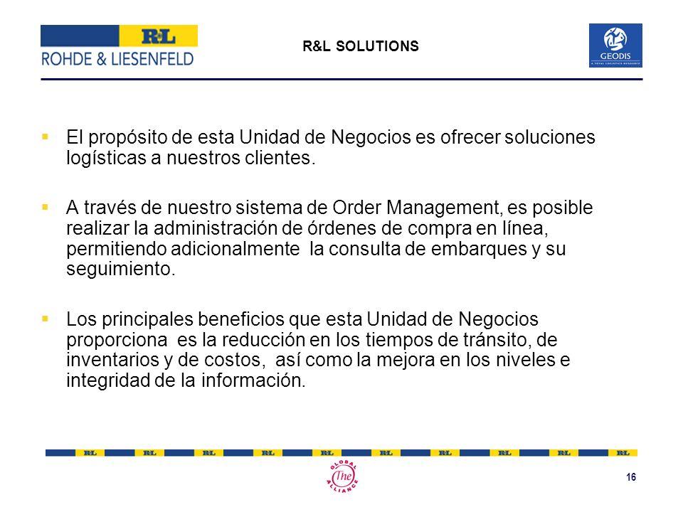 R&L SOLUTIONS El propósito de esta Unidad de Negocios es ofrecer soluciones logísticas a nuestros clientes.