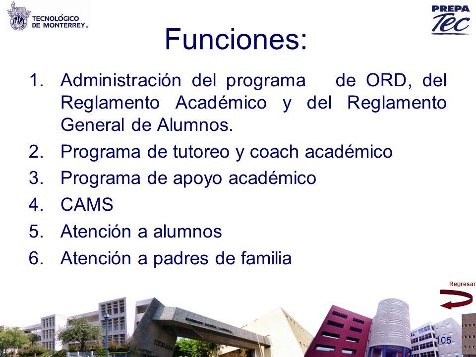 Funciones: Administración del programa de ORD, del Reglamento Académico y del Reglamento General de Alumnos.
