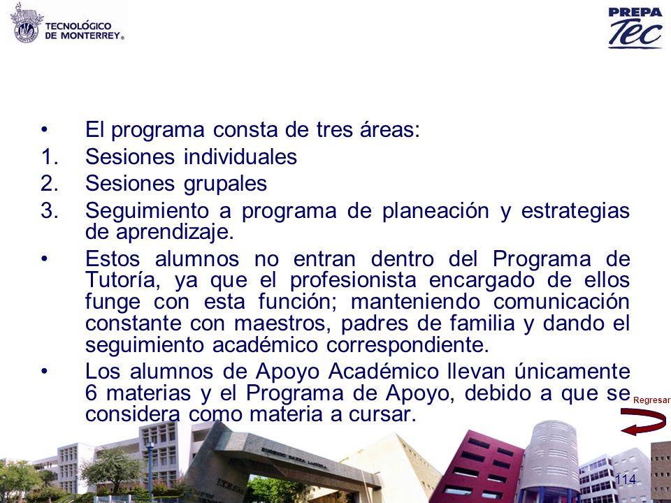 El programa consta de tres áreas: