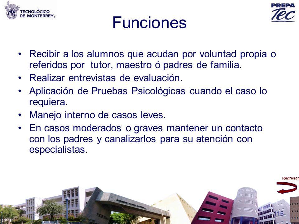 Funciones Recibir a los alumnos que acudan por voluntad propia o referidos por tutor, maestro ó padres de familia.