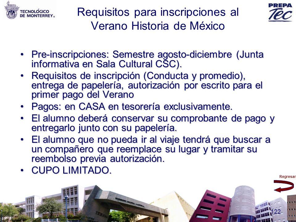 Requisitos para inscripciones al Verano Historia de México
