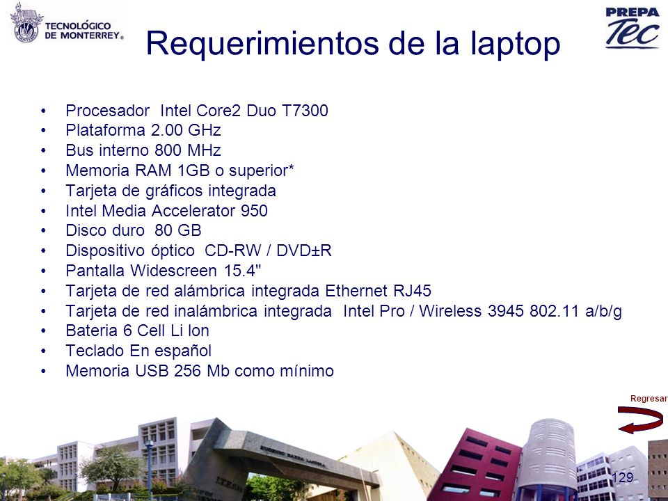Requerimientos de la laptop