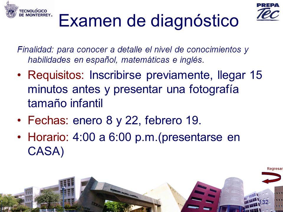 Examen de diagnóstico Finalidad: para conocer a detalle el nivel de conocimientos y habilidades en español, matemáticas e inglés.