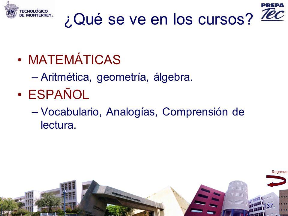 ¿Qué se ve en los cursos MATEMÁTICAS ESPAÑOL