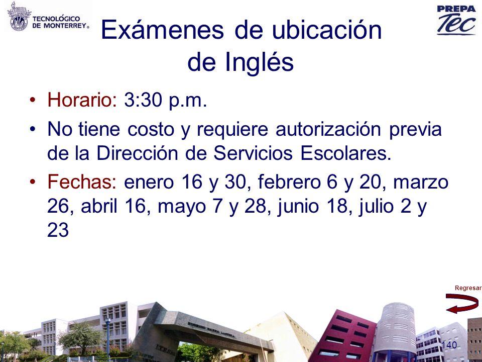 Exámenes de ubicación de Inglés