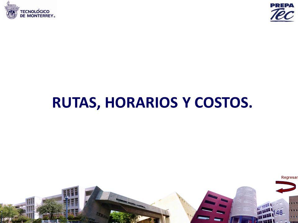 RUTAS, HORARIOS Y COSTOS.