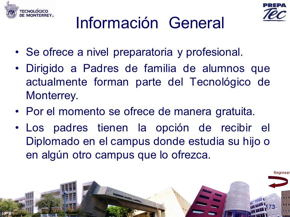Información General Se ofrece a nivel preparatoria y profesional.