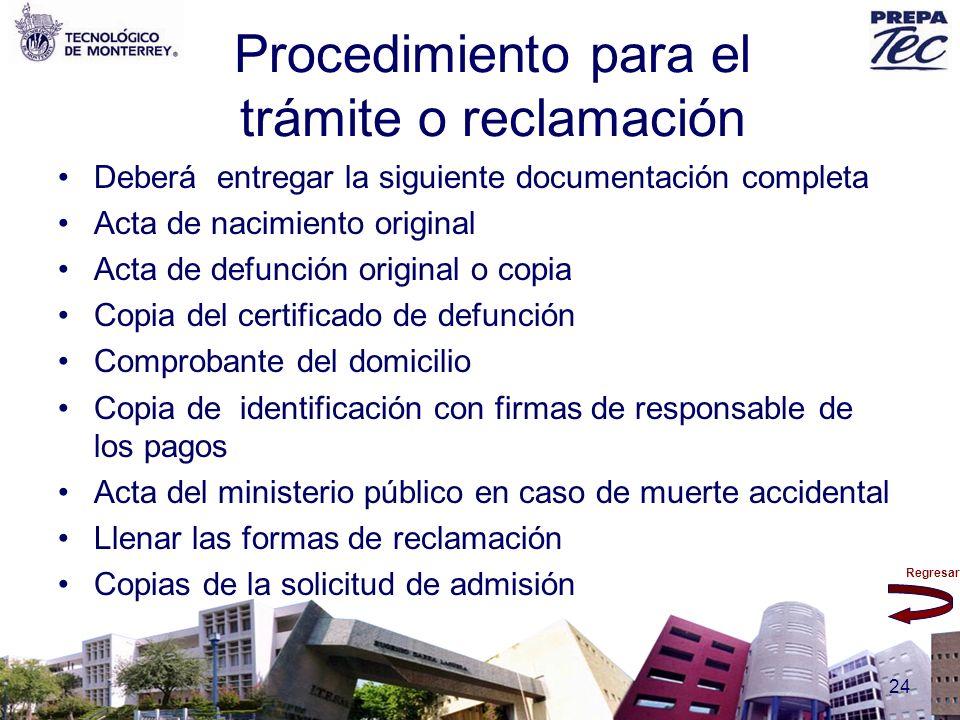 Procedimiento para el trámite o reclamación