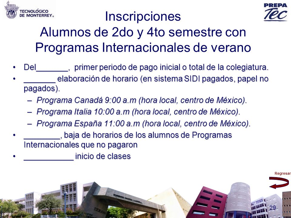 Inscripciones Alumnos de 2do y 4to semestre con Programas Internacionales de verano