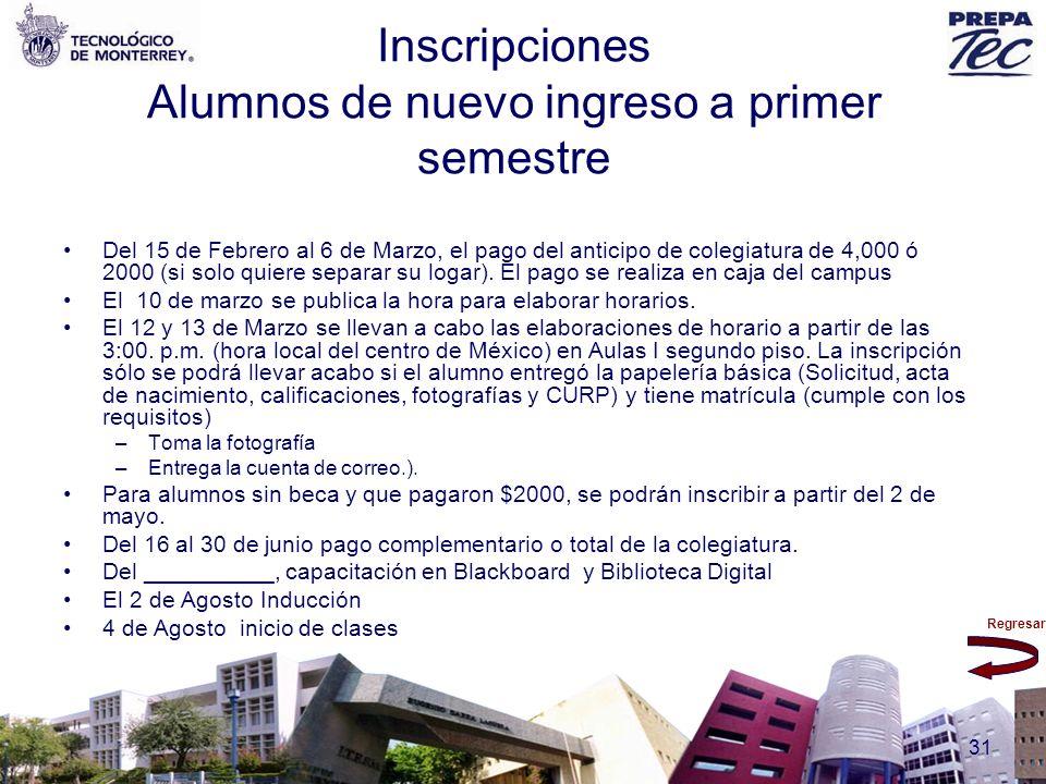 Inscripciones Alumnos de nuevo ingreso a primer semestre