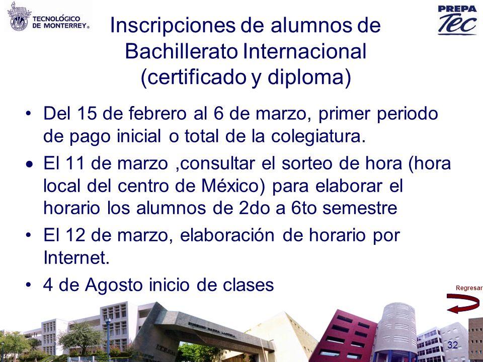 Inscripciones de alumnos de Bachillerato Internacional (certificado y diploma)