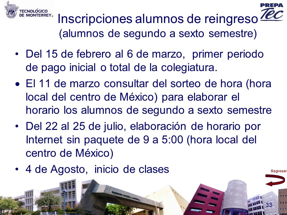 Inscripciones alumnos de reingreso (alumnos de segundo a sexto semestre)