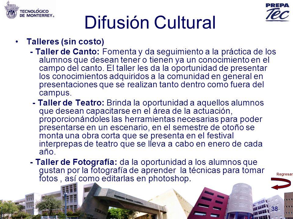 Difusión Cultural Talleres (sin costo)