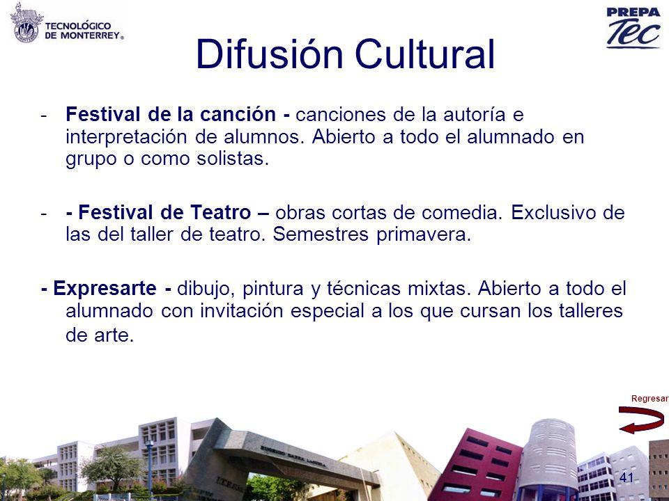 Difusión Cultural Festival de la canción - canciones de la autoría e interpretación de alumnos. Abierto a todo el alumnado en grupo o como solistas.