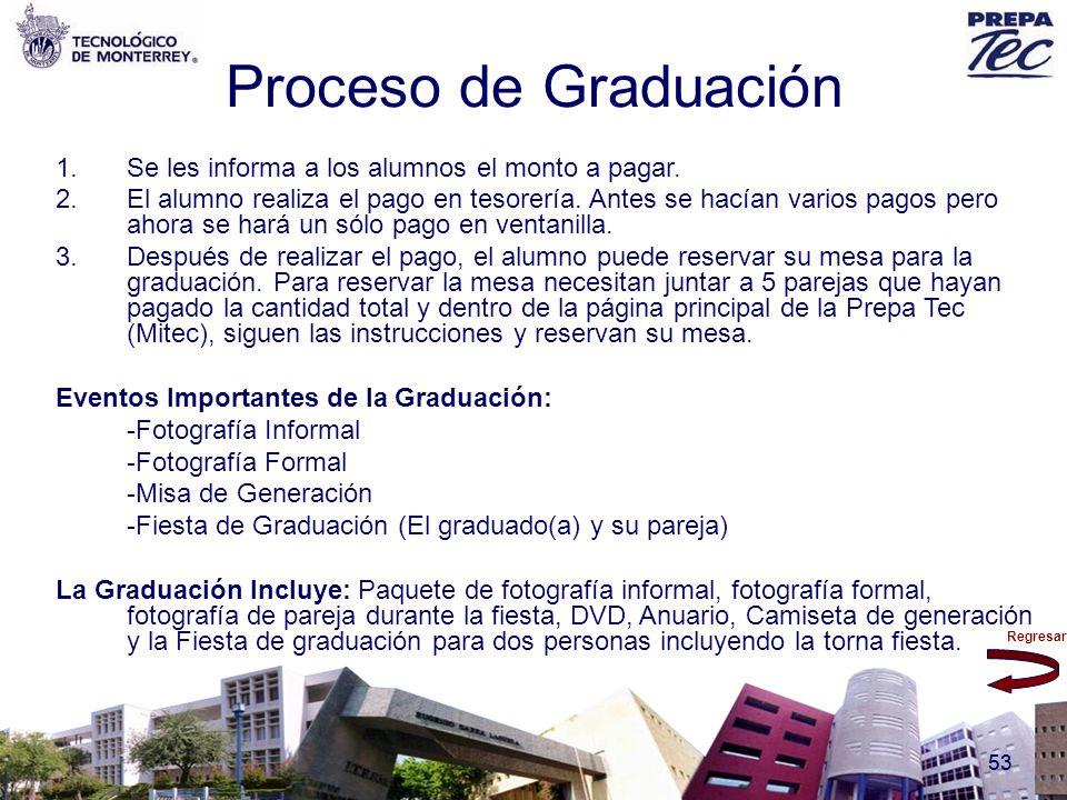 Proceso de Graduación Se les informa a los alumnos el monto a pagar.