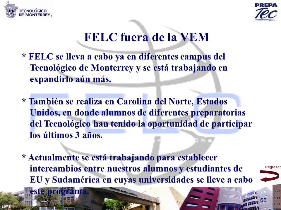 FELC fuera de la VEM * FELC se lleva a cabo ya en diferentes campus del Tecnológico de Monterrey y se está trabajando en expandirlo aún más.