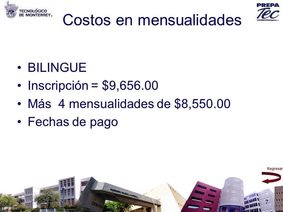 Costos en mensualidades