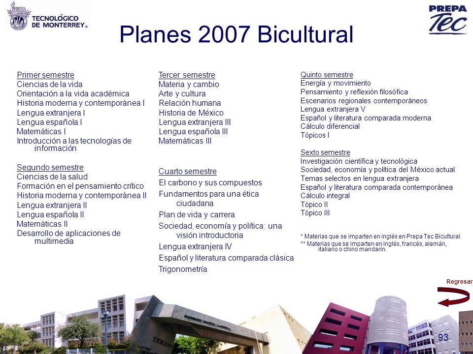 Planes 2007 Bicultural Primer semestre Ciencias de la vida