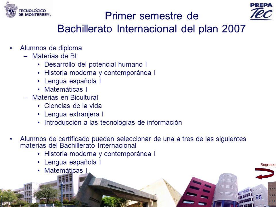 Primer semestre de Bachillerato Internacional del plan 2007