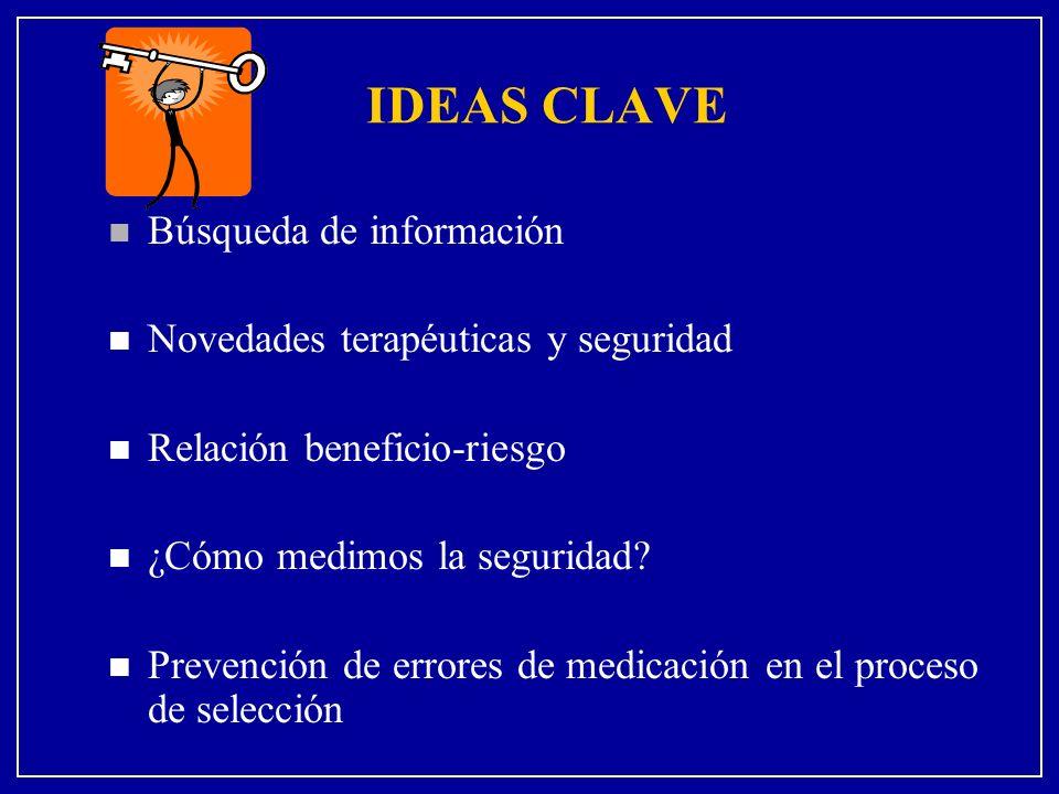 IDEAS CLAVE Búsqueda de información Novedades terapéuticas y seguridad