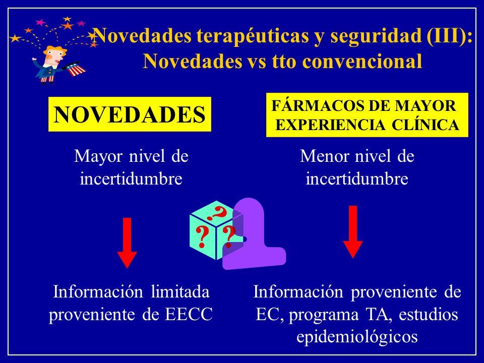 Novedades terapéuticas y seguridad (III): Novedades vs tto convencional